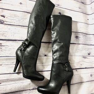 Nine West Black Knee High Heeled Boots